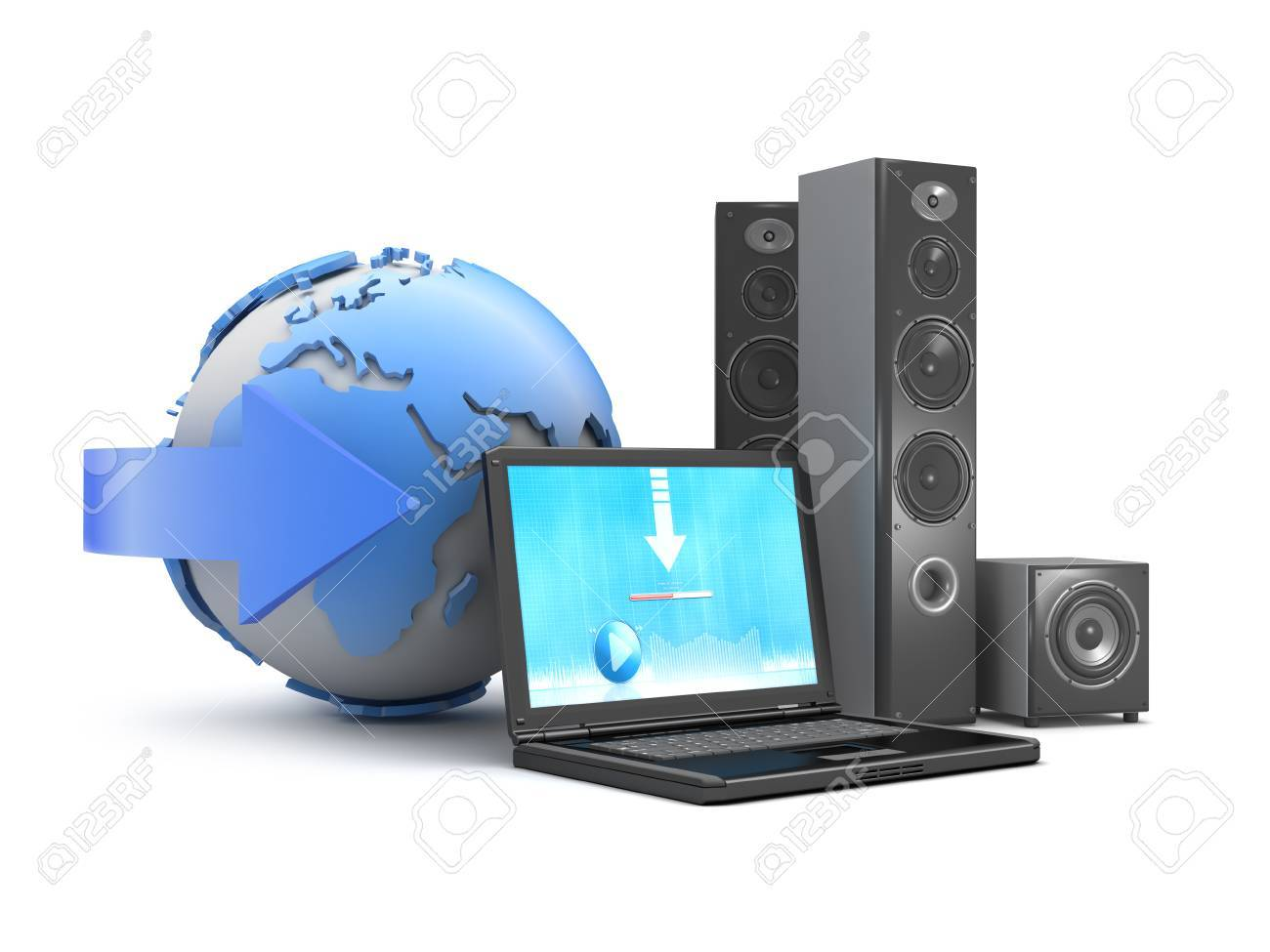 Audio speakers, laptop and earth globe as downloadable music symbol Stock Photo - 26092975