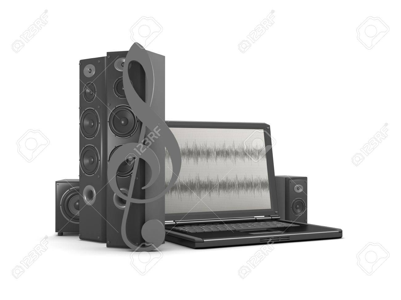 Laptop With Audio Diagram On Screen And Audio Speakers Stock Photo ...