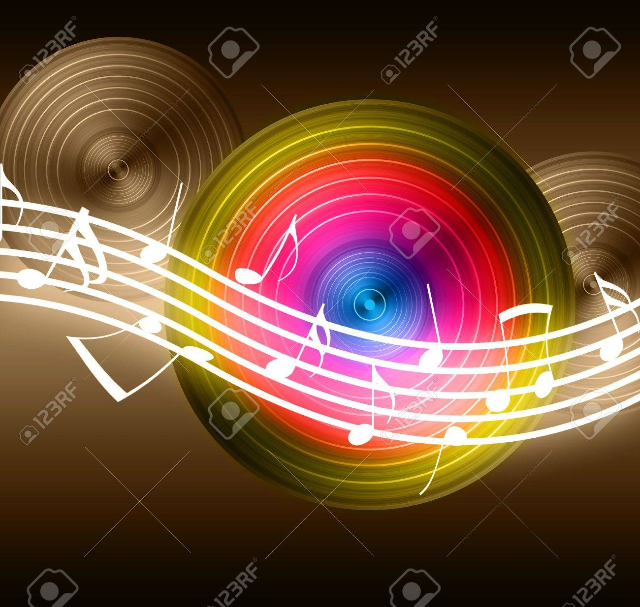 Flowing Music Notes on Vinyl Record Background Stock Photo - 6279866