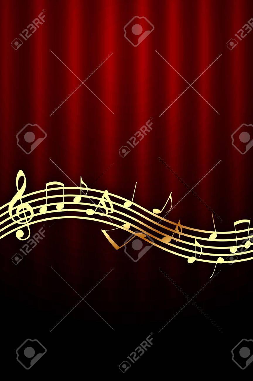HÌNH NHẠC 6776259-Golden-Music-Notes-on-Dark-Red-Background-Stock-Photo