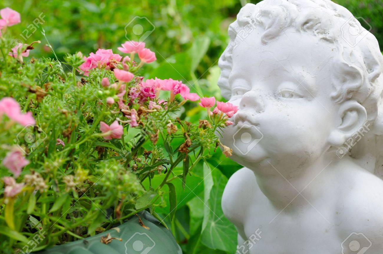 White Angel Smelling Flowers Stock Photo - 7561466