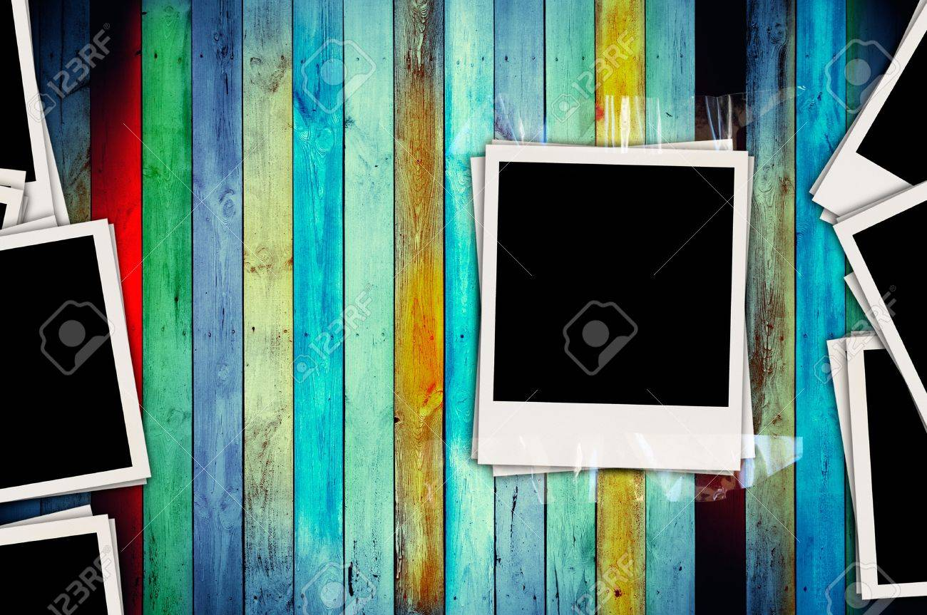 blank photos on creative wood background stock photo 8018158