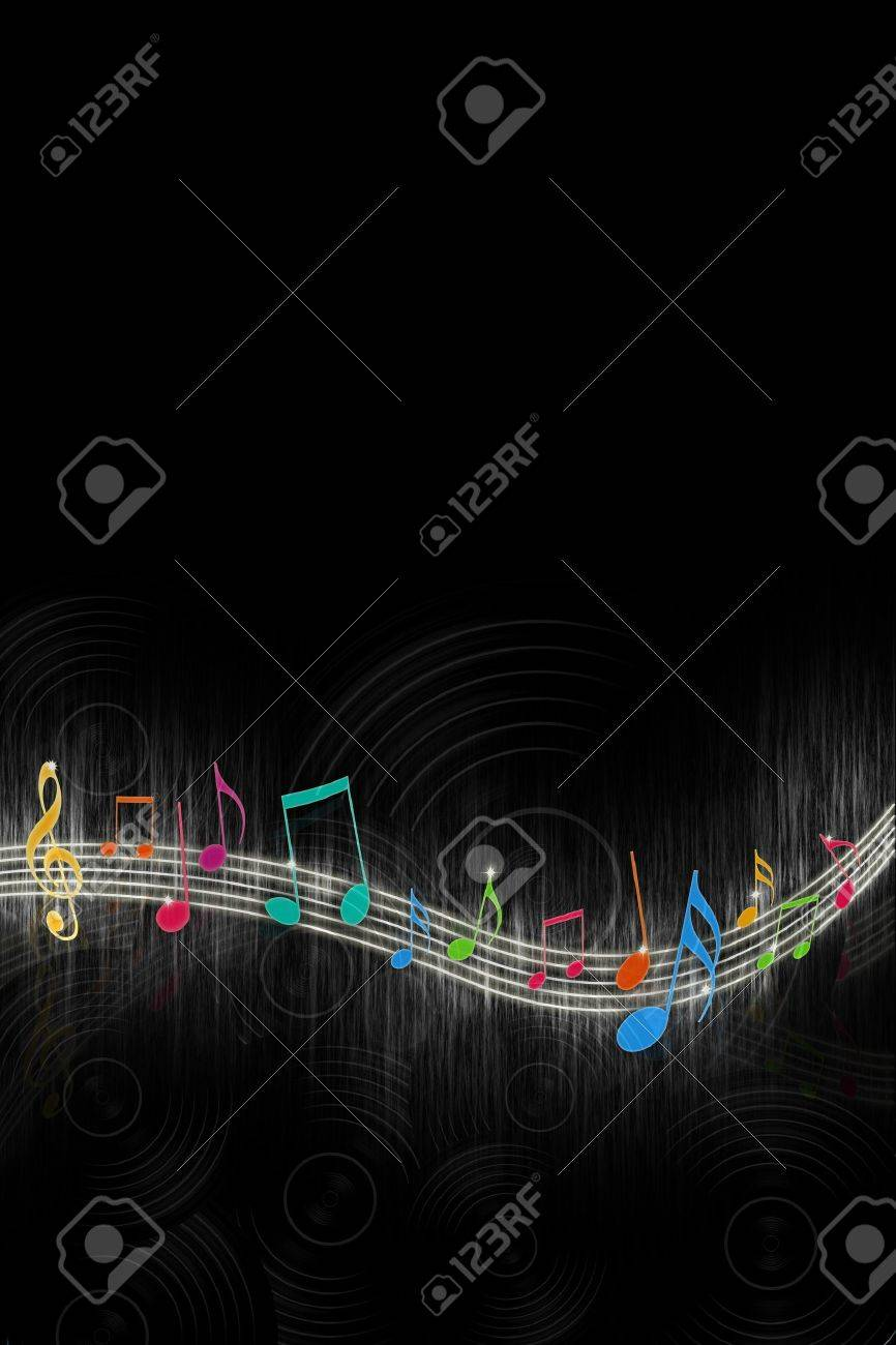 Multicolored Music Notes on Black Background Stock Photo - 8364505