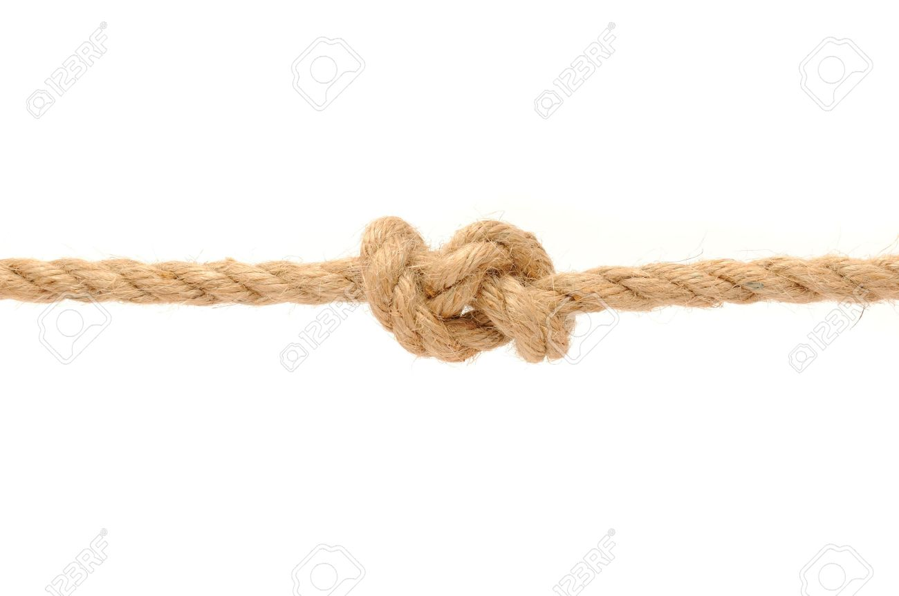 Jute Rope with Knot on White Background Stock Photo - 9655721