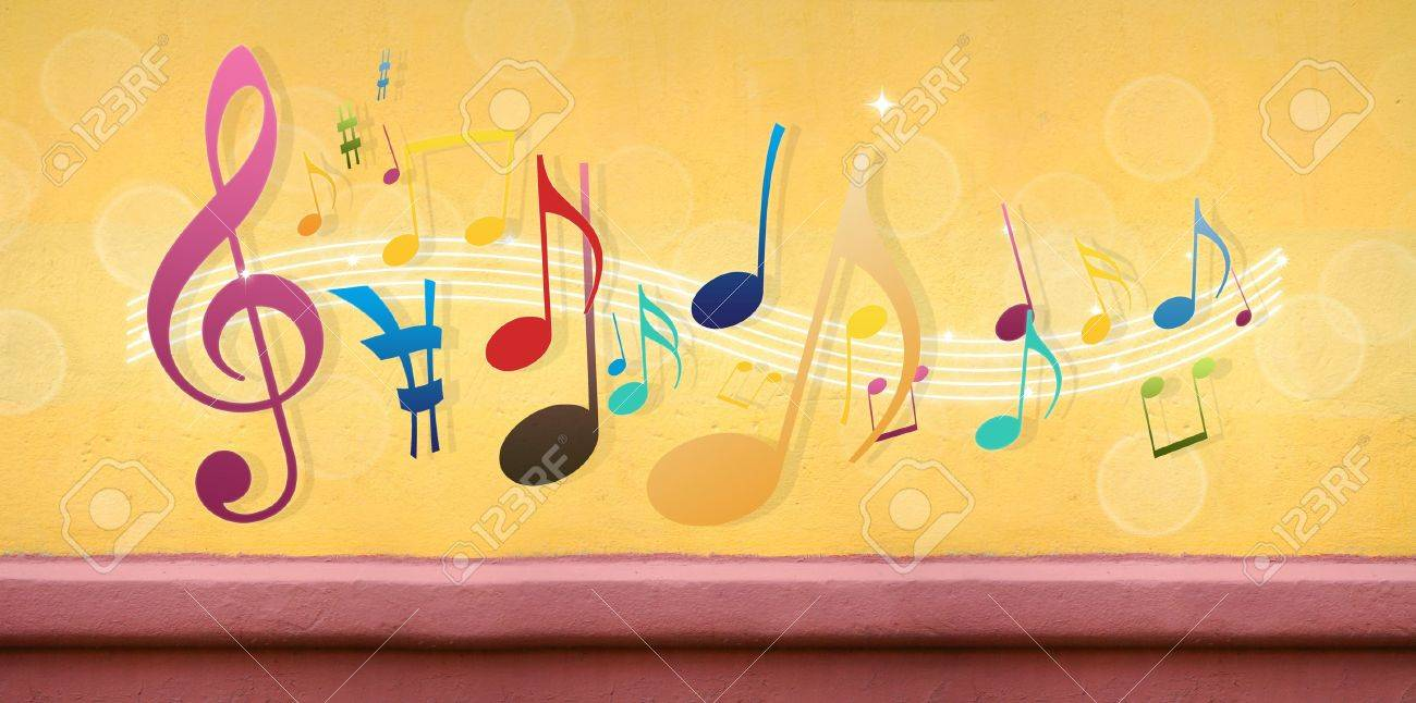 Music Notes On Concrete Wall (Extra-Wide Background) Stock Photo ...