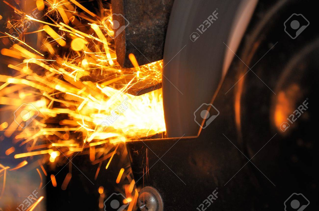 Sparks from Grinder in Workshop Stock Photo - 11418572