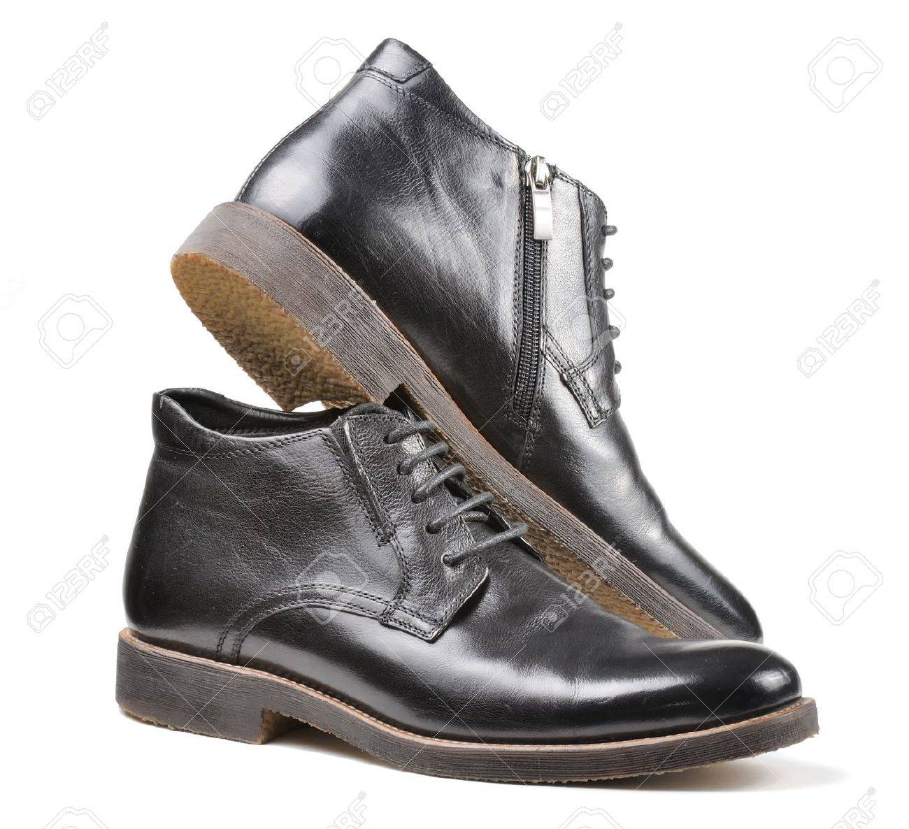 Men Classic Black Leather Shoes Isolated on White Background Stock Photo - 12335956