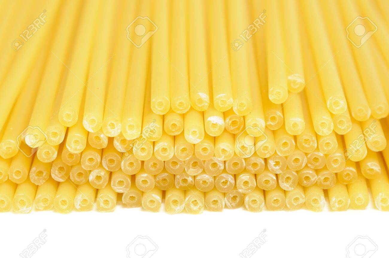 Perciatelli Pasta On White Background Stock Photo, Picture And ...