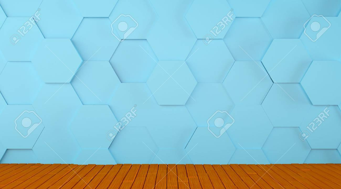 Tiled Blue Wall And Wooden Floor Background Stock Photo, Picture And ...