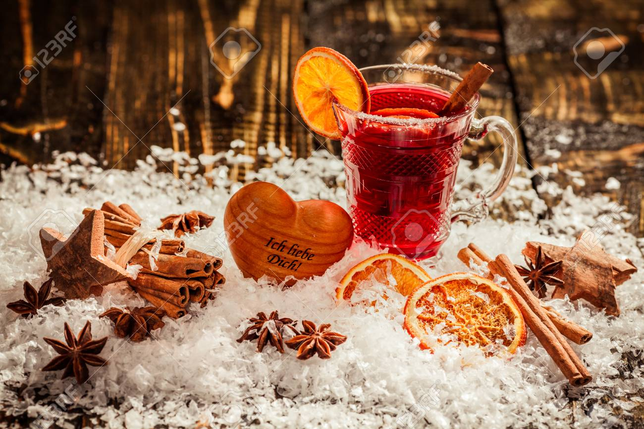Mulled Wine Christmas Market.Mulled Wine With Orange And Spices On A Christmas Market In The