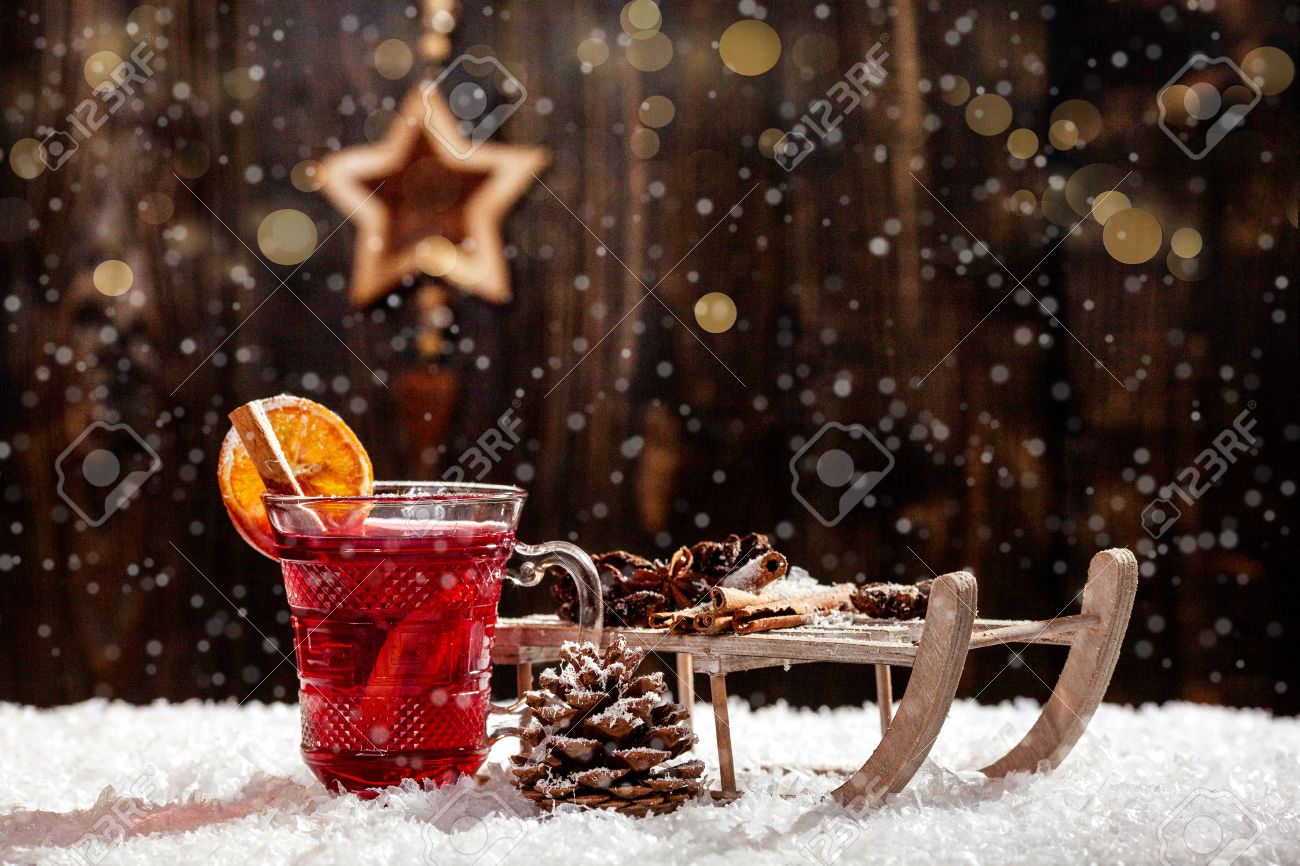Stylish Rustic Winter Wallpaper With Anise Cinnamon And Pine Stock
