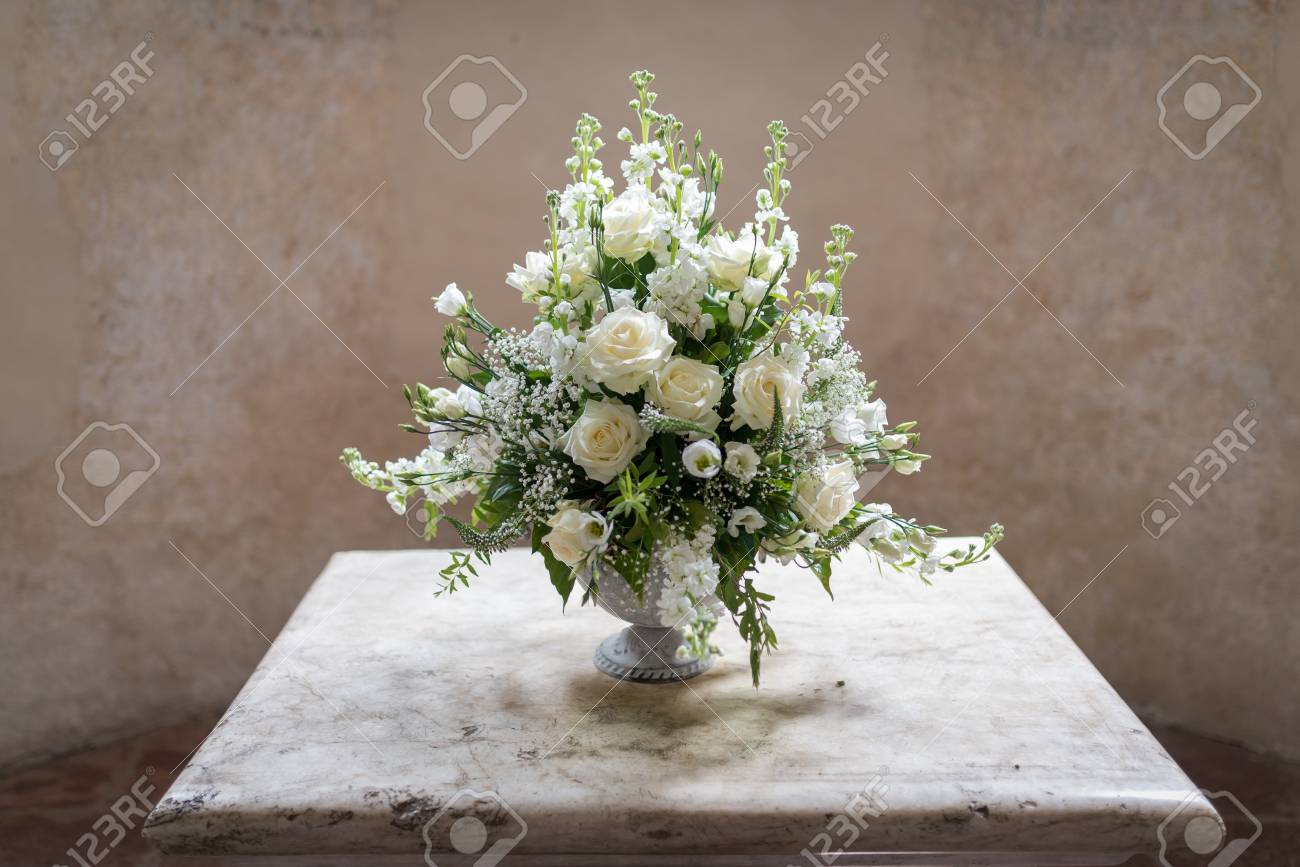 Luxury Wedding Flower Placed On The Altar In Swiss Church In Stock Photo Picture And Royalty Free Image Image 58803092