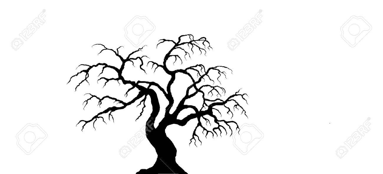 black spooky tree on white background royalty free cliparts