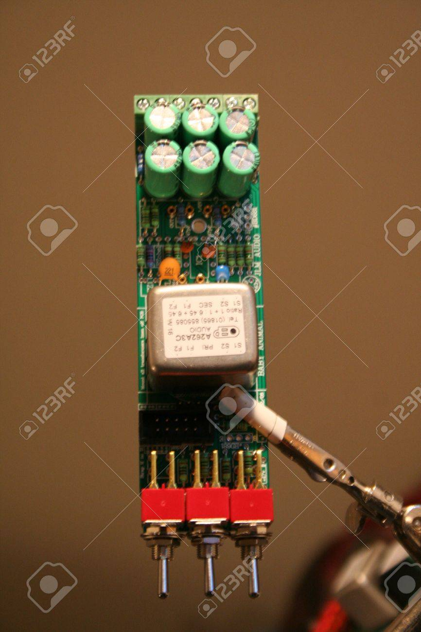 Capacitors on top of PCB Stock Photo - 11592944