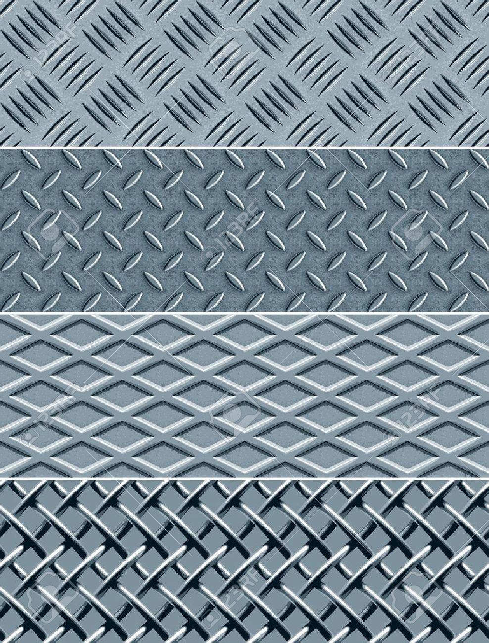 Four metal textures, seamless vector patterns Stock Vector - 12612815