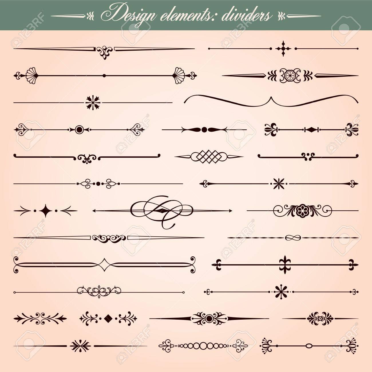 set kalligraphische design elemente und seite dekoration trennwnde und bindestriche lizenzfreie bilder 17286460 - Dekoration Tren