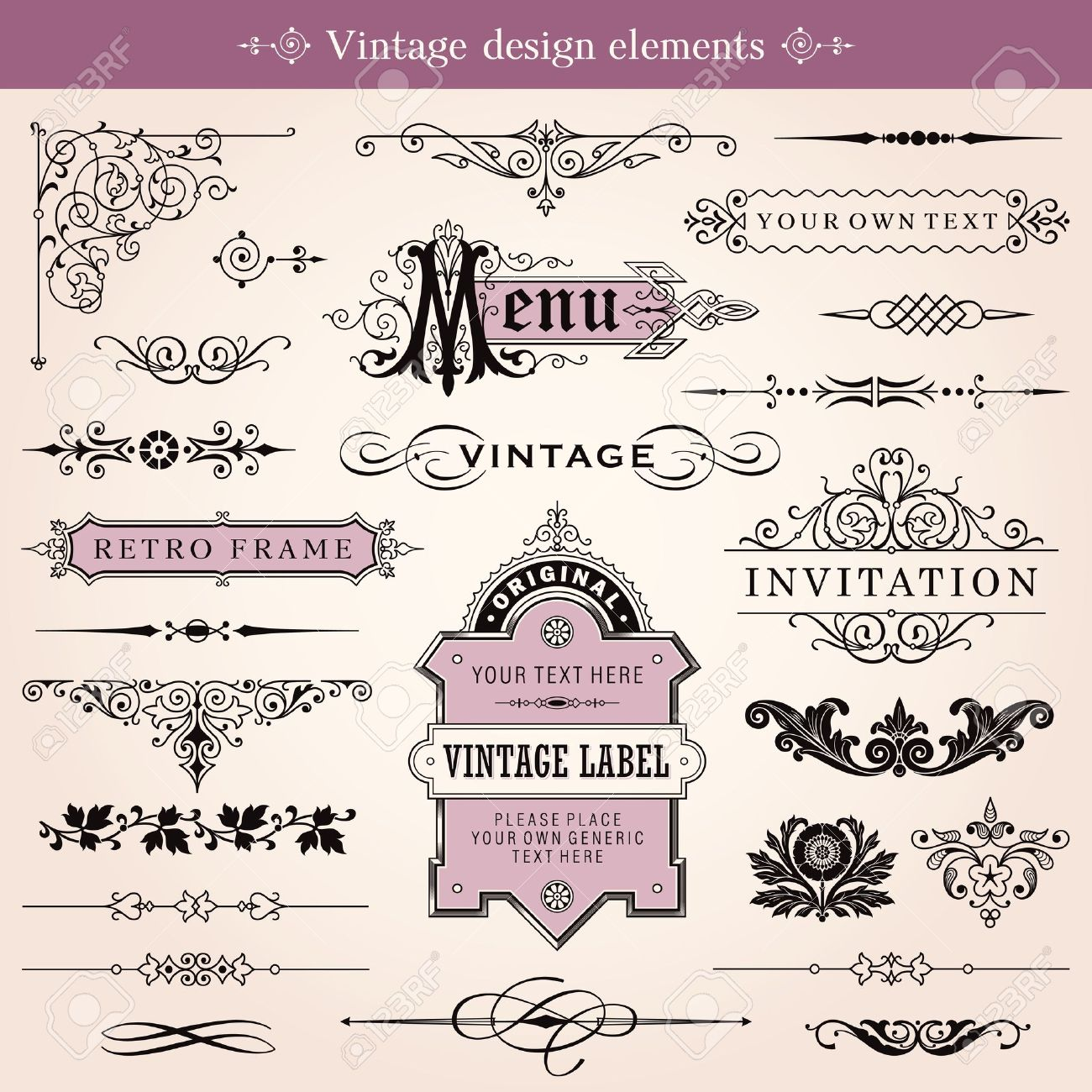 Vintage Calligraphic Design Elements And Page Decoration Stock Vector - 20489573