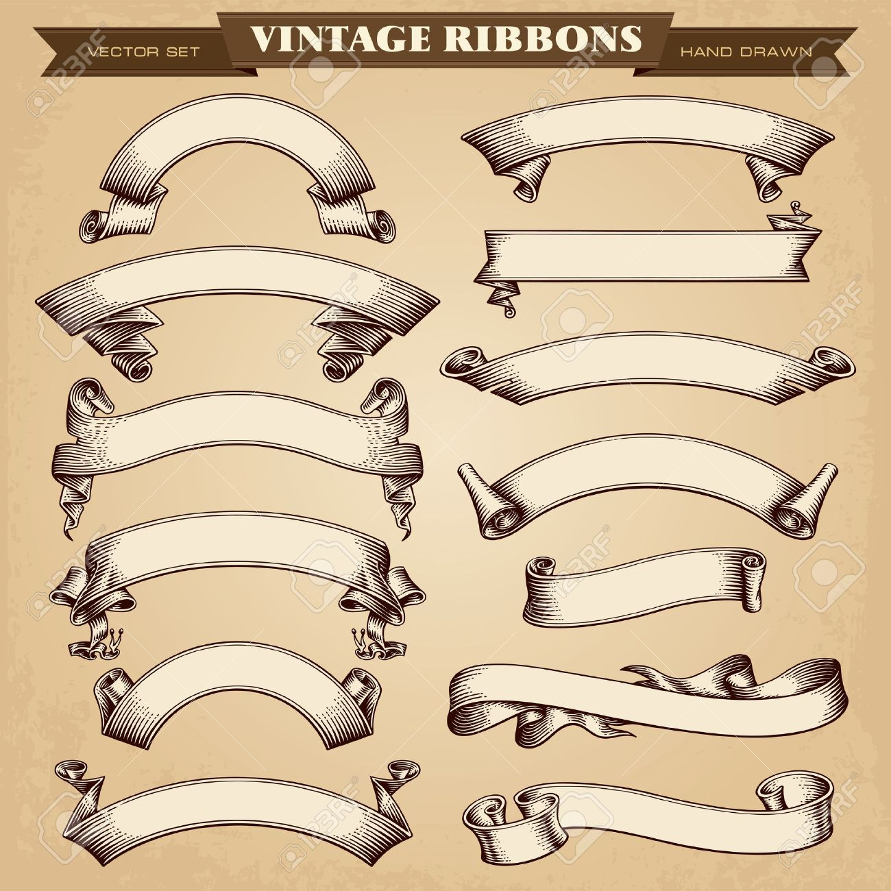 vintage ribbon banners vector collection royalty free cliparts