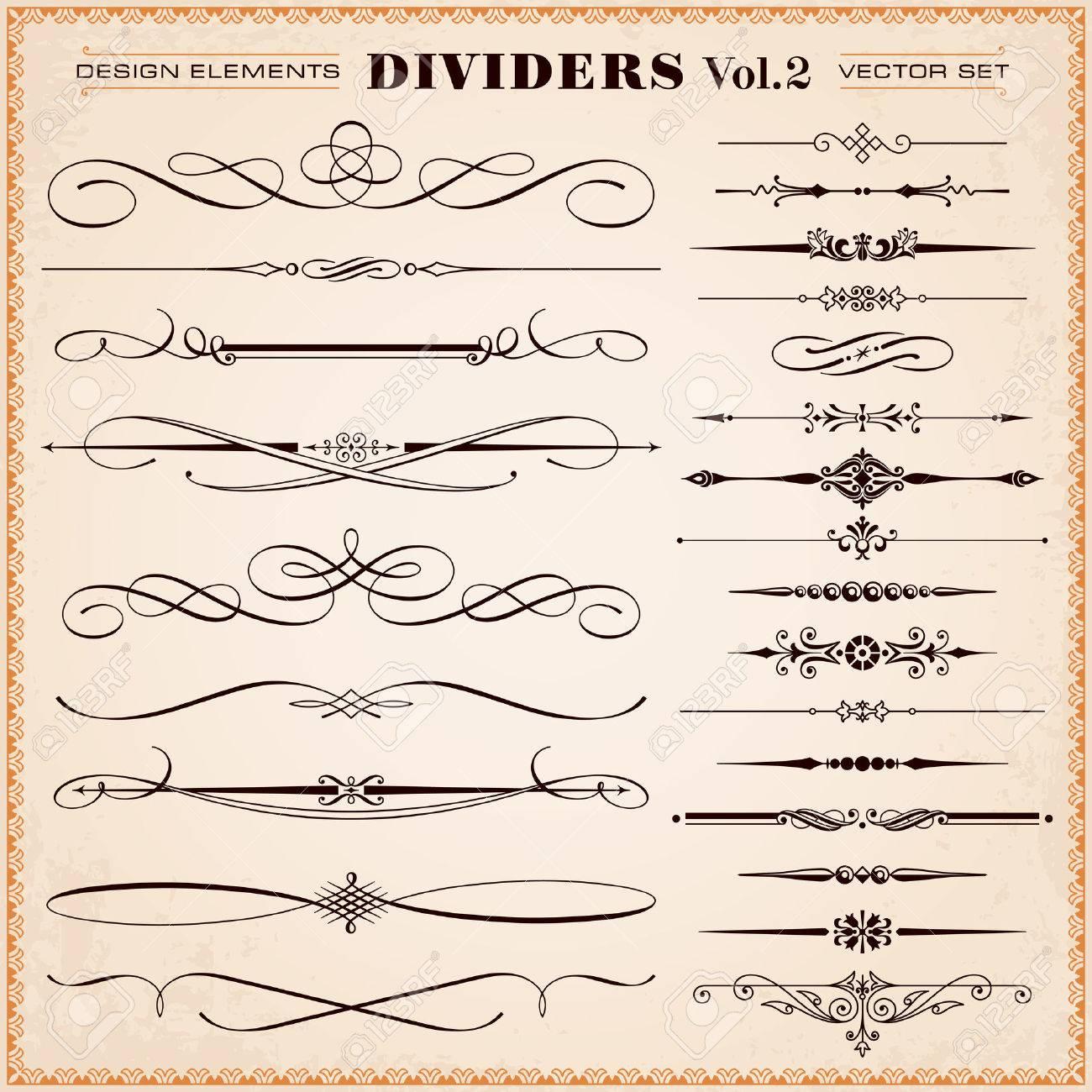 set von vektor vintage kalligrafische design elementen und seite dekoration trennwnde und striche - Dekoration Tren