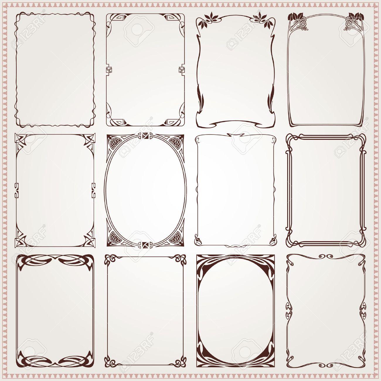 Decorative Vintage Borders And Frames Art Nouveau Style Vector ...