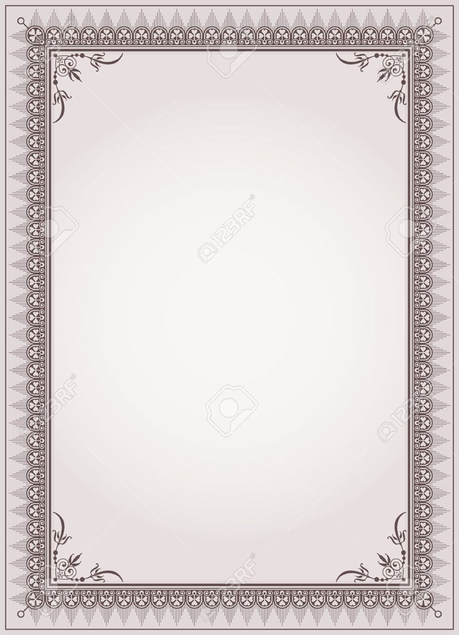 Decorative Border Frame Background Certificate Template Vector ...