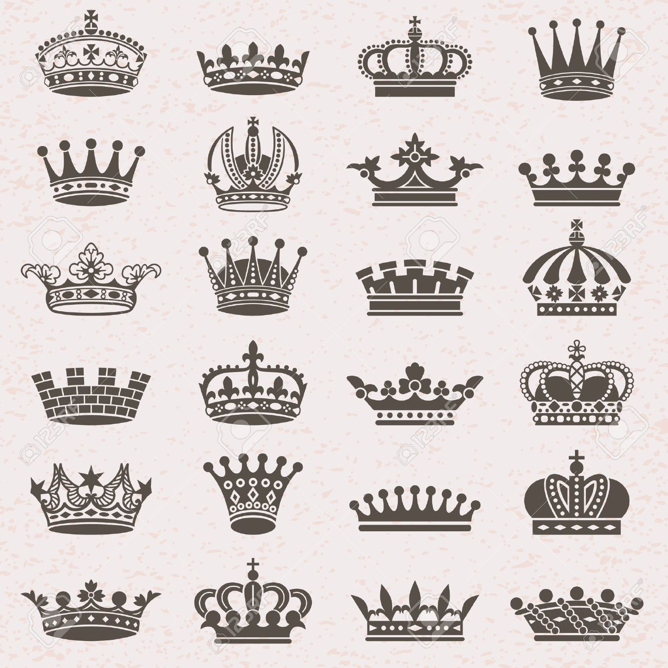 Set of crown heraldic silhouette icons - 52582844