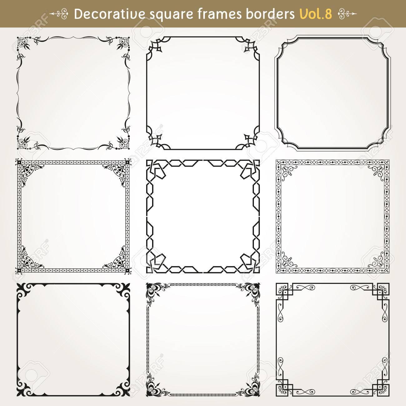 Dekorative Quadratische Rahmen Grenzen Hintergründe Design-Elemente ...