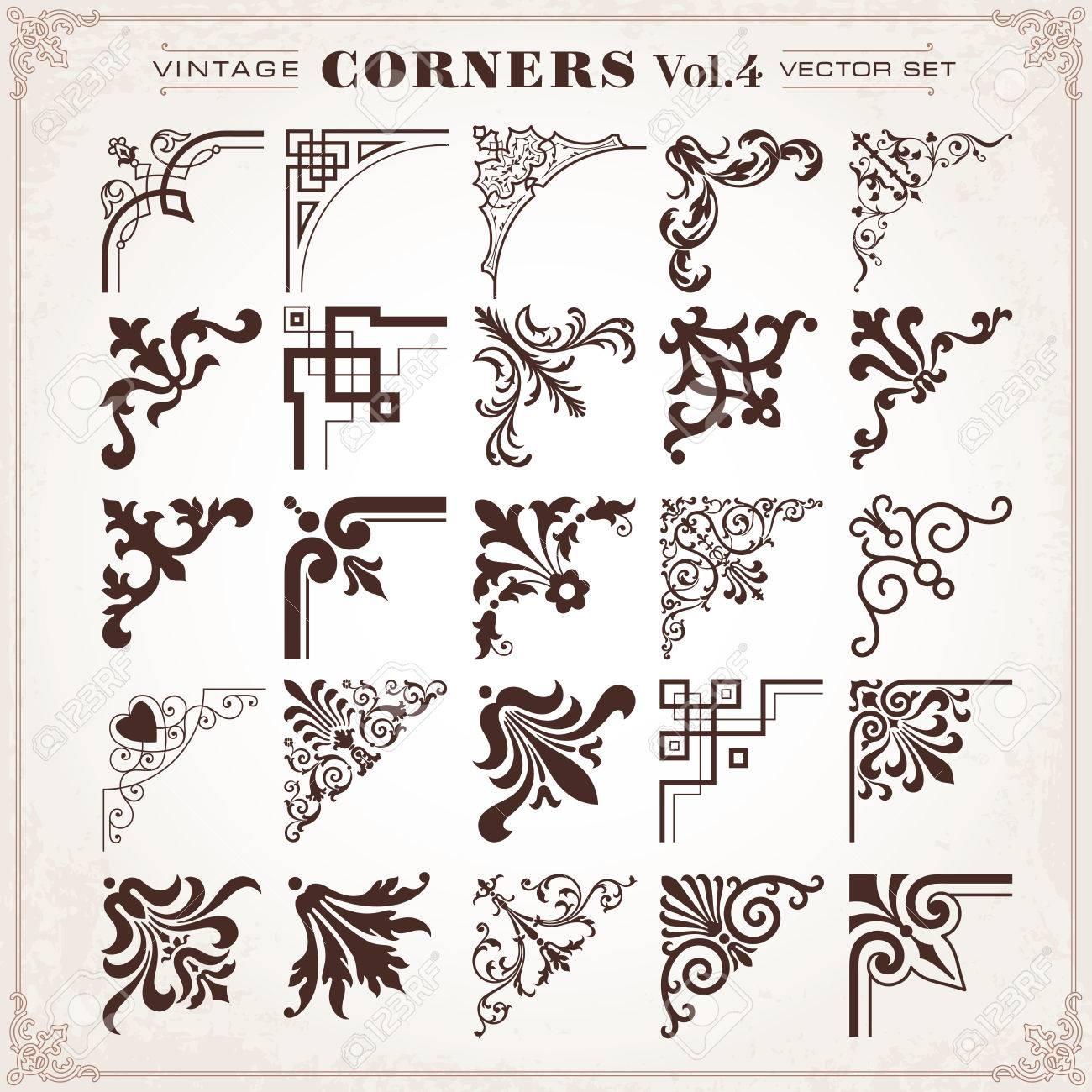 Vintage Design Elements Corners Borders Frames Set 4 Vector Royalty