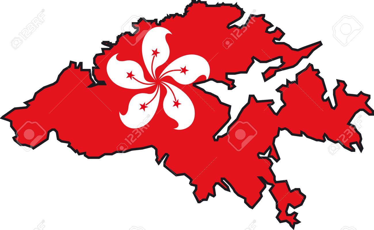 Hong Kong Flag Map Illustration Vector Of A Map And Flag From Hong Kong Royalty Free