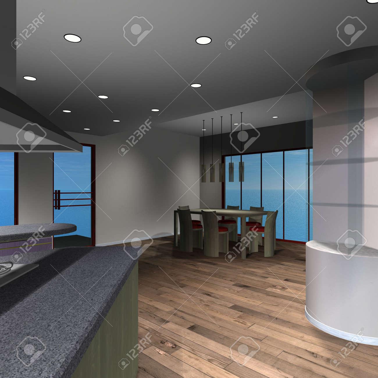 Modern House - Diningroom Stock Photo - 4644020