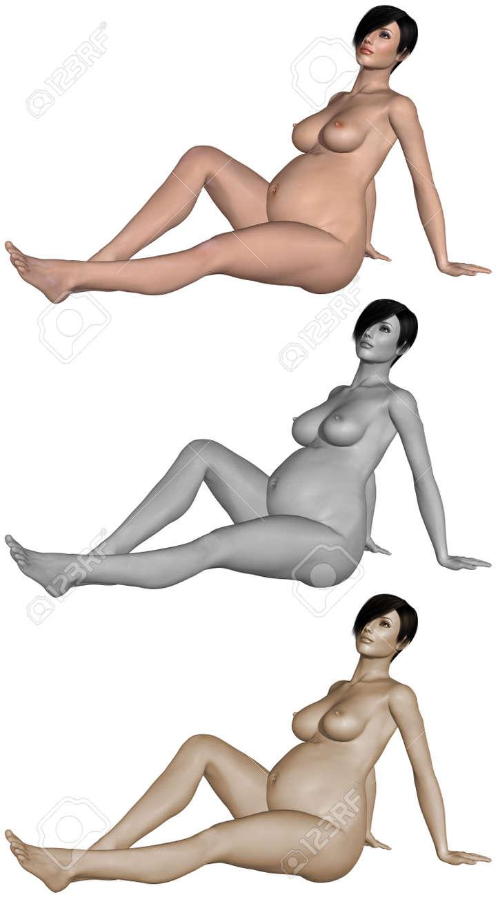 Nude pregnant woman Stock Photo - 10011398