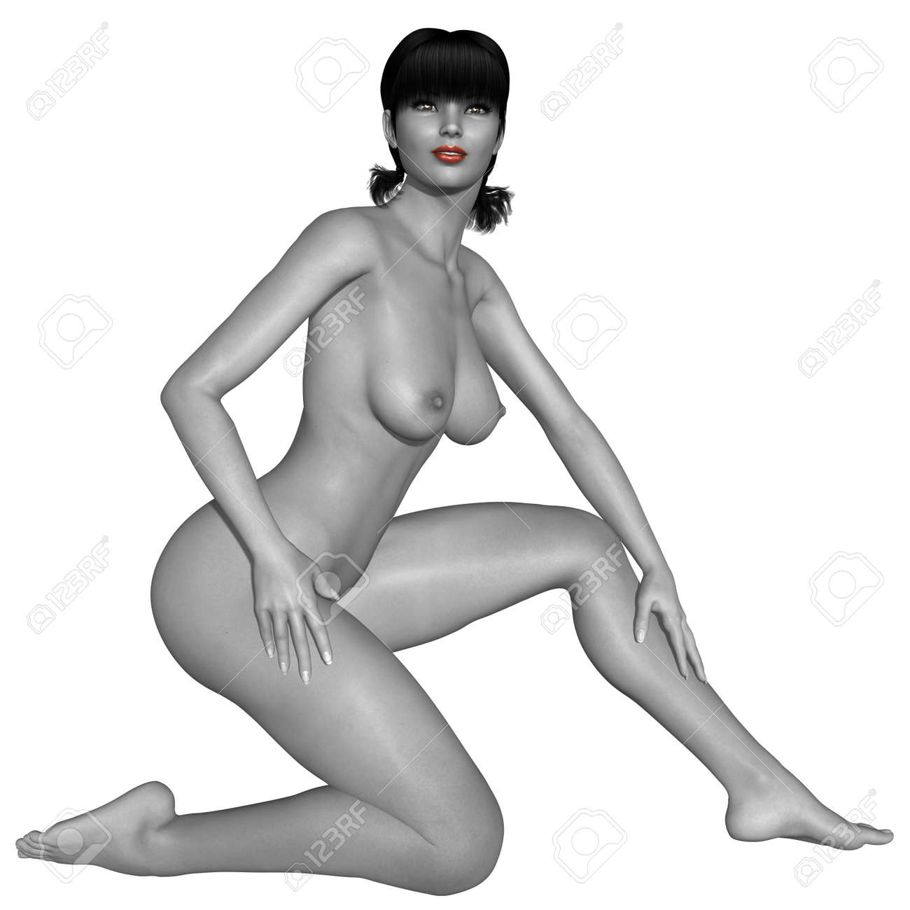 Naked female body with sexy pose - black and white picture with some color part Standard-Bild - 10762865