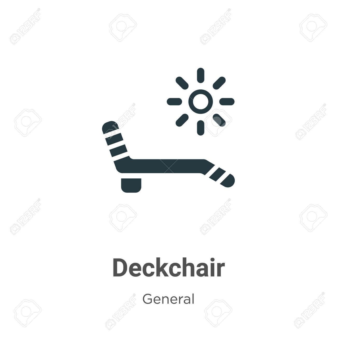 Deckchair vector icon on white background. Flat vector deckchair icon symbol sign from modern general collection for mobile concept and web apps design. - 161390332