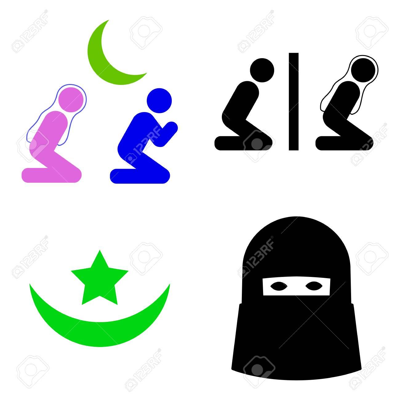 イスラム教徒の祈りの人々 イラスト クリップ アート。フラット イラスト