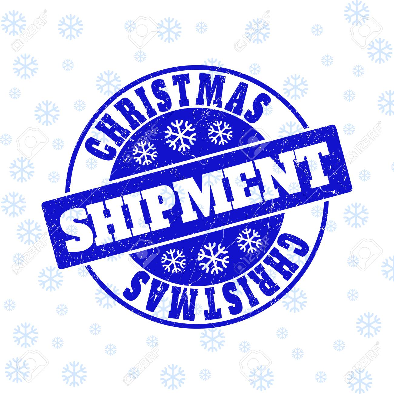 Christmas Shipment Round Stamp Seal On Winter Background With.. Royalty Free Cliparts, Vectors, And Stock Illustration. Image 126796190.