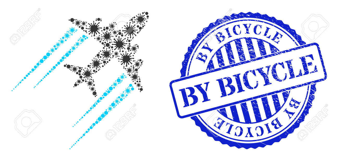 Infection collage flying airplane trace icon, and grunge BY BICYCLE seal stamp. Flying airplane trace mosaic for breakout images, and unclean round blue stamp seal. - 172186664