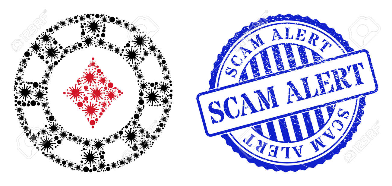 Coronavirus mosaic diamonds casino chip icon, and grunge SCAM ALERT stamp. Diamonds casino chip mosaic for medical templates, and dirty round blue stamp seal. - 172186666