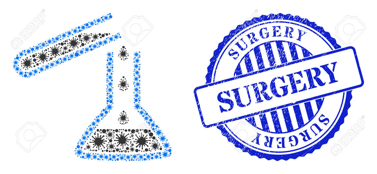 Virulent collage chemical liquid glasses icon, and grunge SURGERY seal stamp. Chemical liquid glasses collage for epidemic images, and rubber round blue stamp imprint. - 172186595