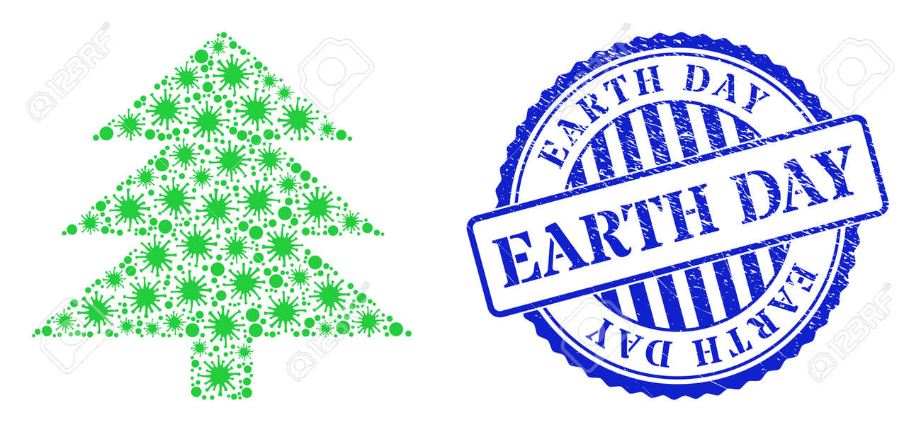 Cell collage fir tree icon, and grunge EARTH DAY seal stamp. Fir tree collage for isolation templates, and grunge round blue seal. Vector collage is done from randomized cell parts. - 172186530