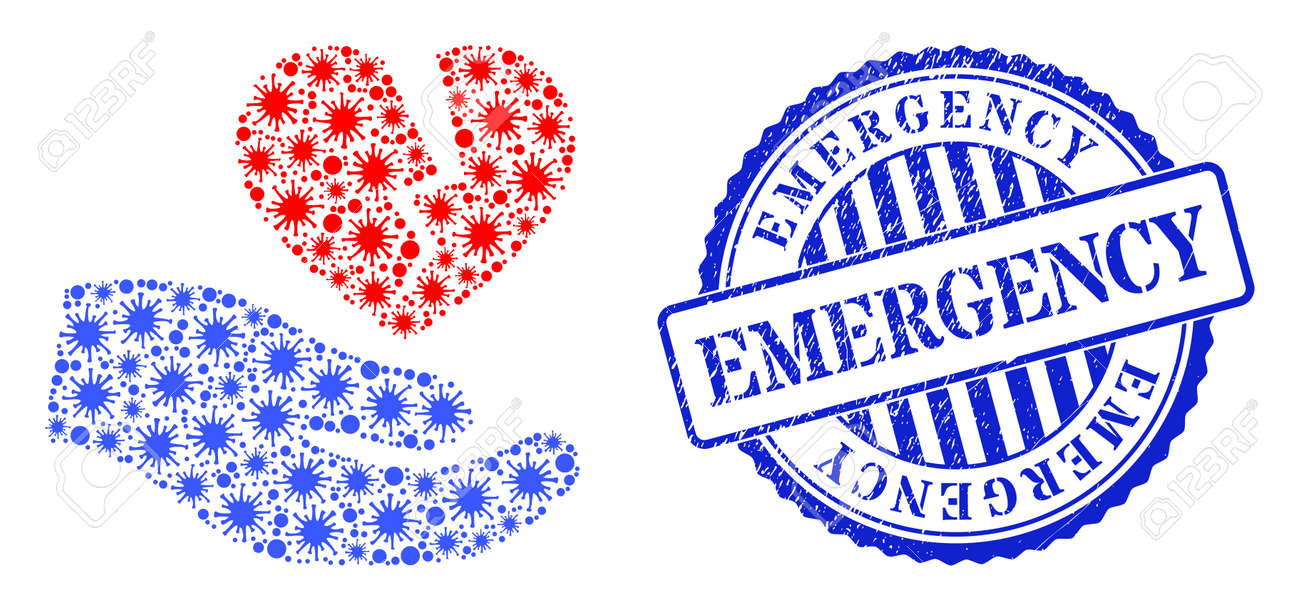 Virulent collage broken heart offer hand icon, and grunge EMERGENCY seal stamp. Broken heart offer hand collage for breakout images, and corroded round blue stamp imprint. - 172186502