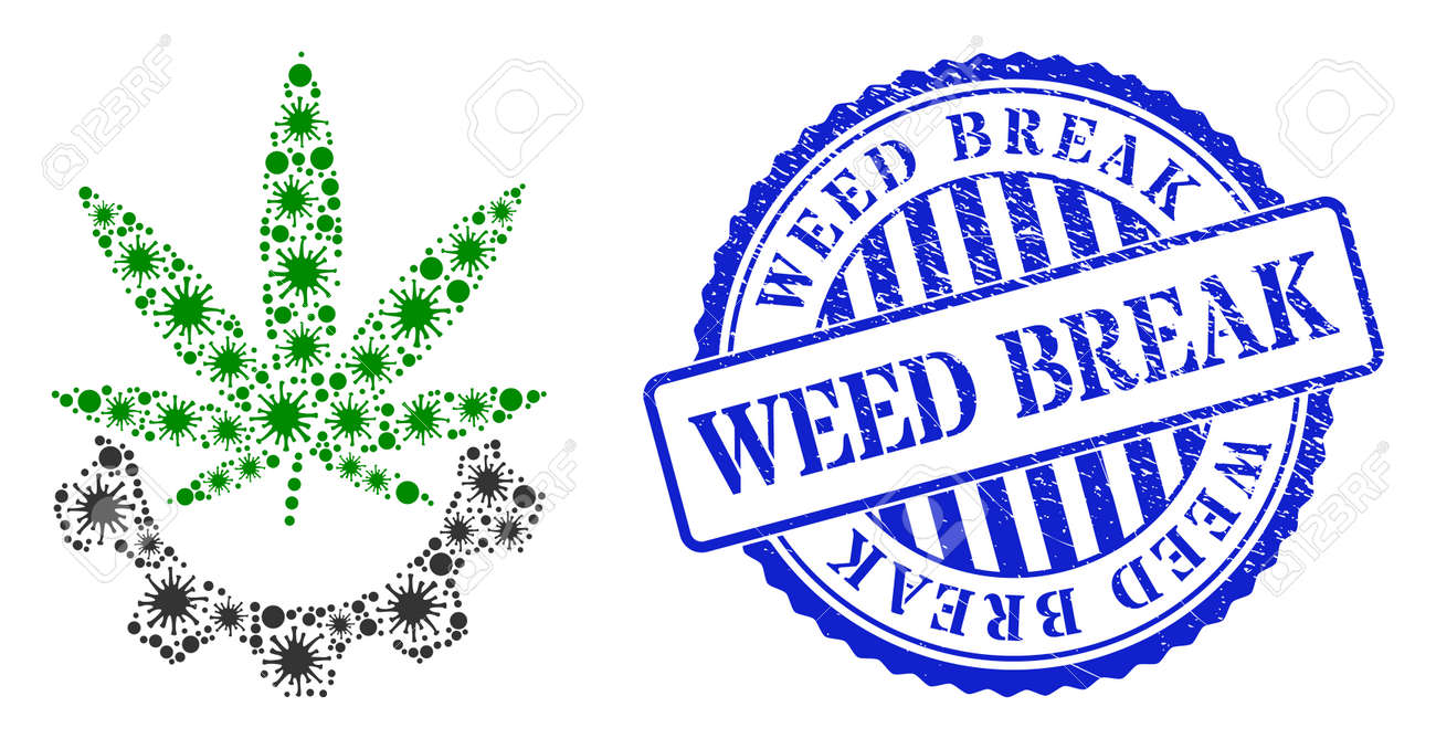 Contagious mosaic cannabis industry icon, and grunge WEED BREAK seal. Cannabis industry mosaic for medical templates, and grunge round blue seal. Vector mosaic is constructed from random virus items. - 172186345