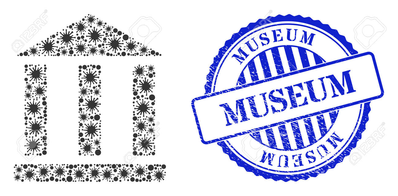 Coronavirus mosaic library building icon, and grunge MUSEUM seal stamp. Library building mosaic for medical templates, and grunge round blue seal imitation. - 172186401