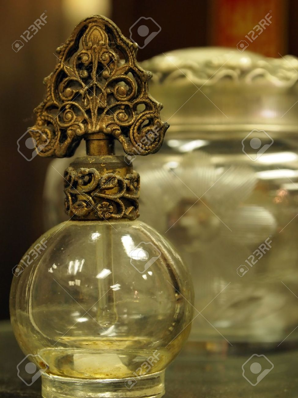 A Small Collection Of Fancy Vintage Perfumes Bottles Stock Photo