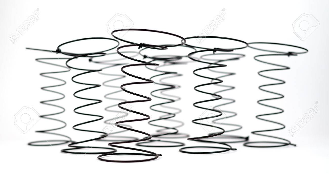 Group Of Black Wire Springs Used In Upholstery On White Background ...