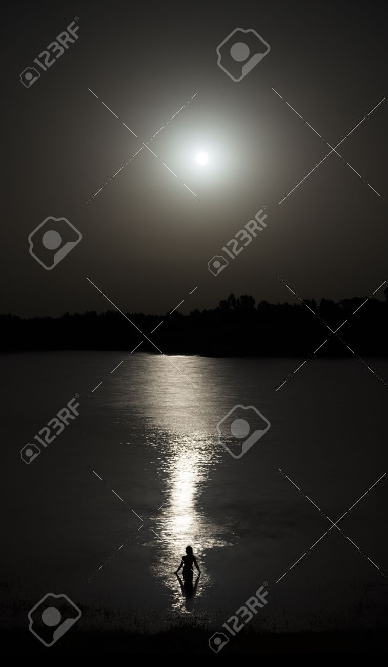 Naked in the moonlight