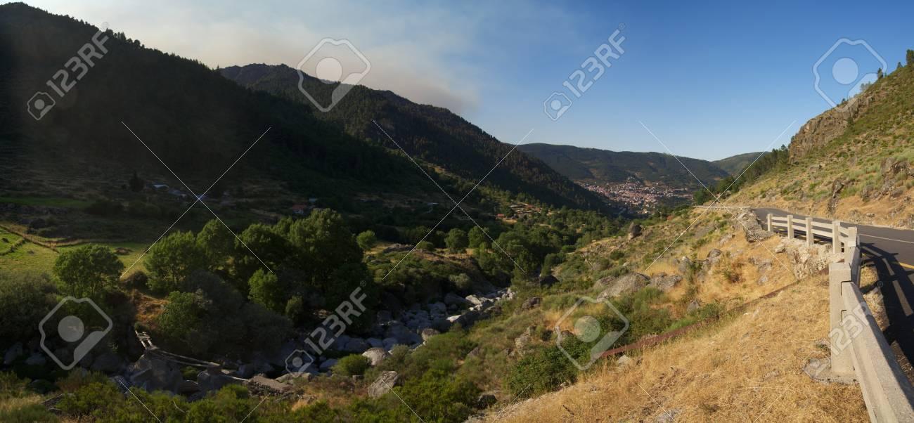 Typical U-shaped glacial valley near Manteigas at Estrela mountain