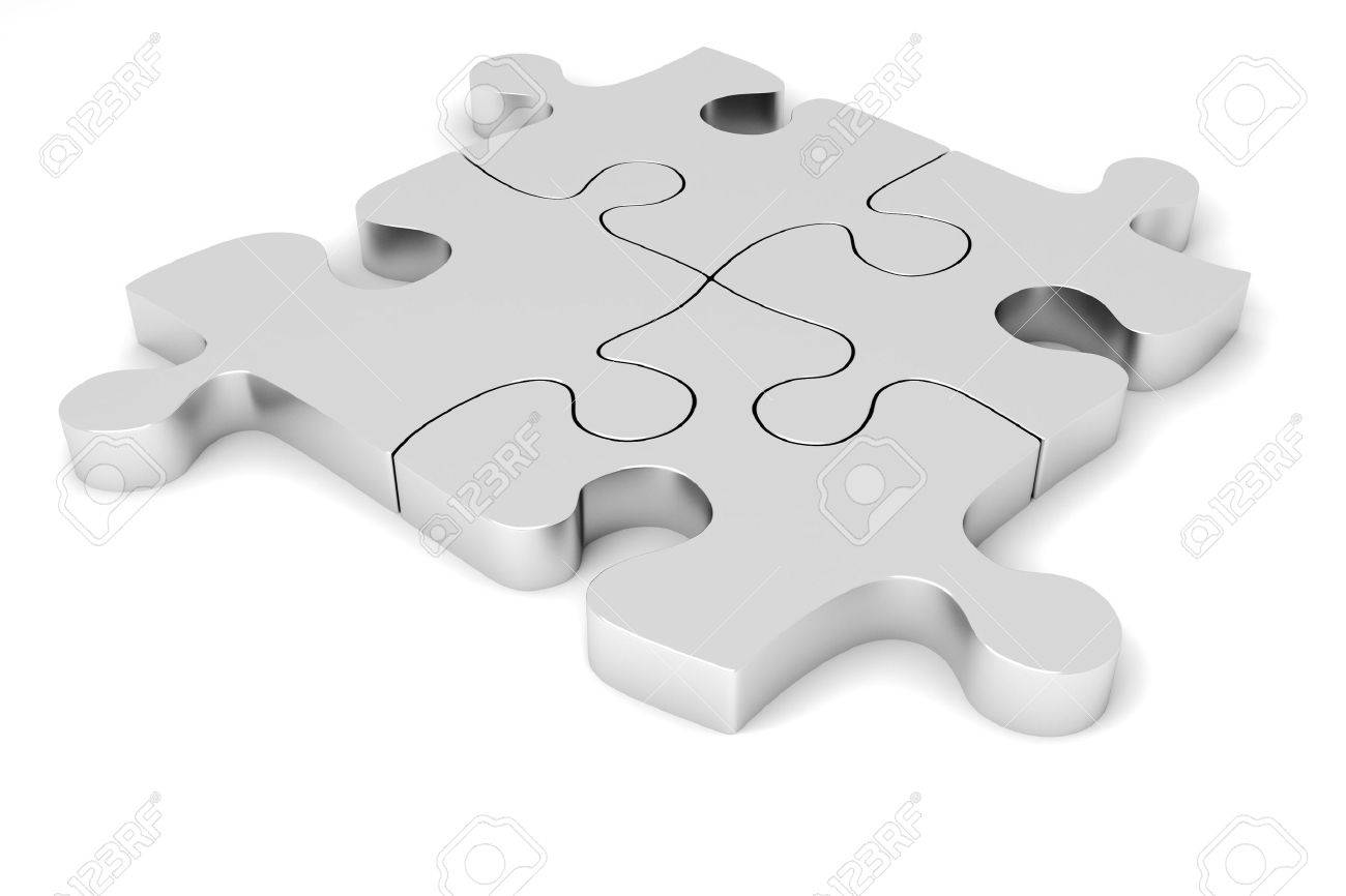 3D Metal Puzzle Pieces Stock Photo