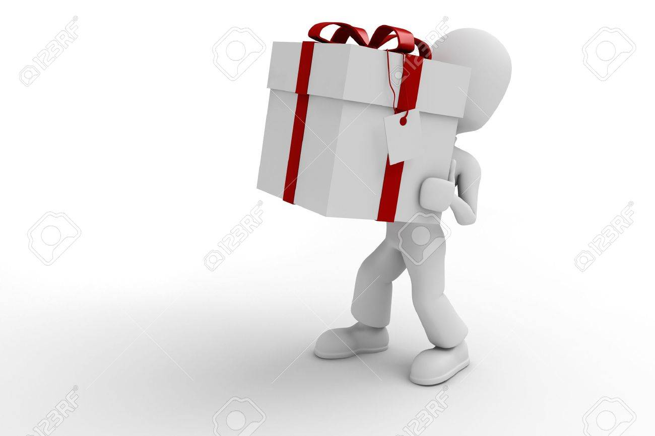 3d man holding a big present box Stock Photo - 9421948