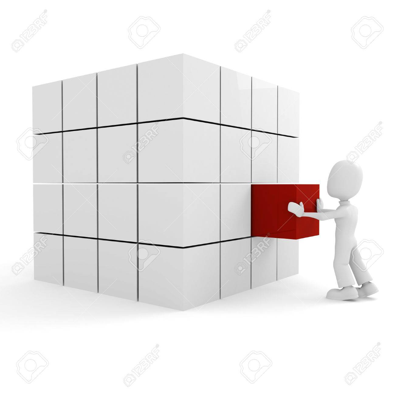 3d man pushing a cube into its place Stock Photo - 8164584