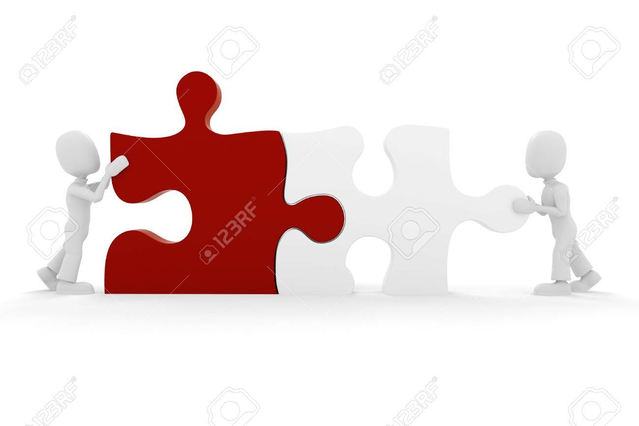 3d man puzzle join, concept Stock Photo - 8164478